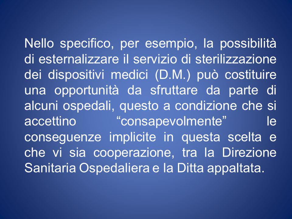 Nello specifico, per esempio, la possibilità di esternalizzare il servizio di sterilizzazione dei dispositivi medici (D.M.) può costituire una opportu