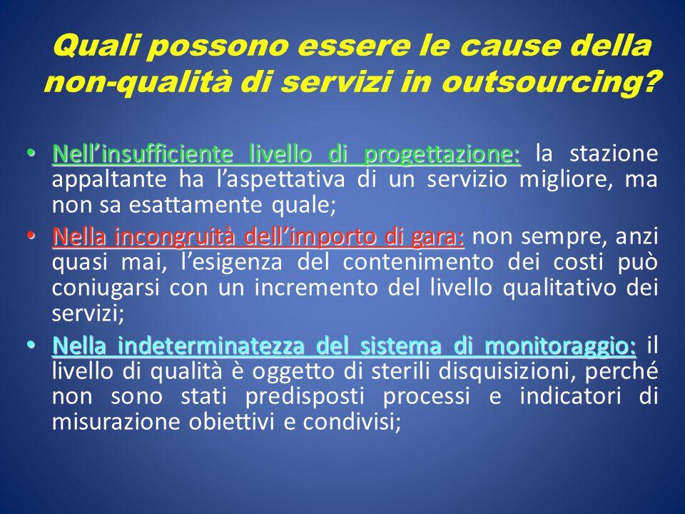 Quali possono essere le cause della non-qualità di servizi in outsourcing? Nell'insufficiente livello di progettazione: Nell'insufficiente livello di