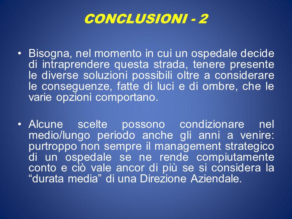 CONCLUSIONI - 2 Bisogna, nel momento in cui un ospedale decide di intraprendere questa strada, tenere presente le diverse soluzioni possibili oltre a considerare le conseguenze, fatte di luci e di ombre, che le varie opzioni comportano.