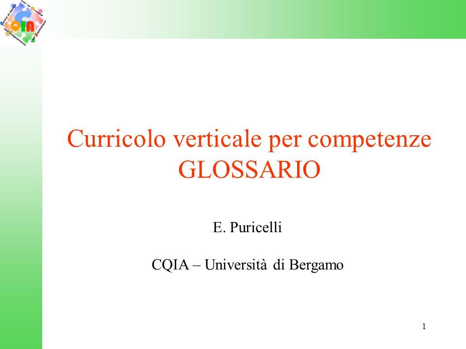 1 Curricolo verticale per competenze GLOSSARIO E. Puricelli CQIA – Università di Bergamo