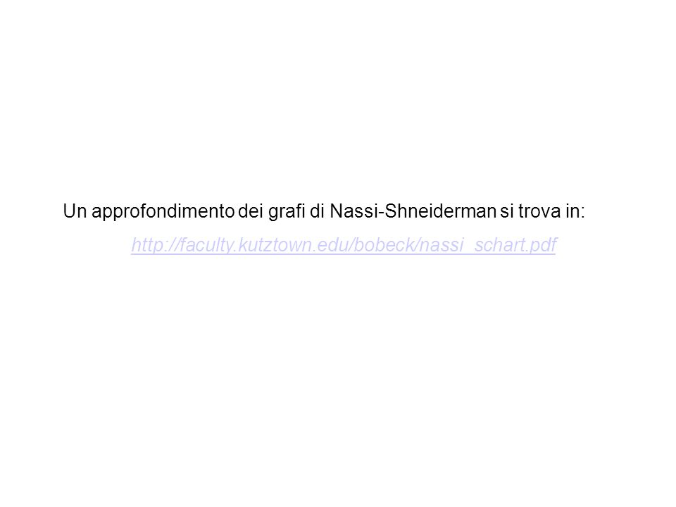 Un approfondimento dei grafi di Nassi-Shneiderman si trova in: http://faculty.kutztown.edu/bobeck/nassi_schart.pdf