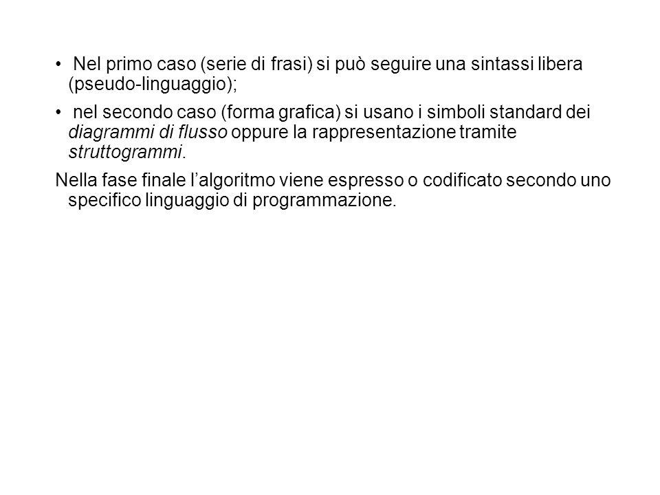 Nel primo caso (serie di frasi) si può seguire una sintassi libera (pseudo-linguaggio); nel secondo caso (forma grafica) si usano i simboli standard d