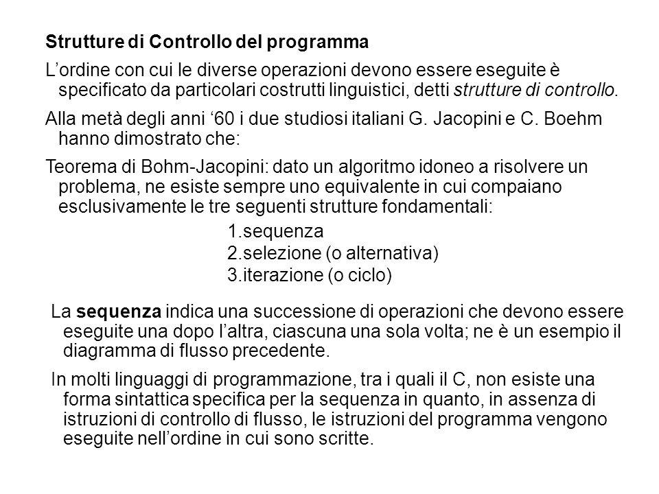 1.sequenza 2.selezione (o alternativa) 3.iterazione (o ciclo) La sequenza indica una successione di operazioni che devono essere eseguite una dopo l'a