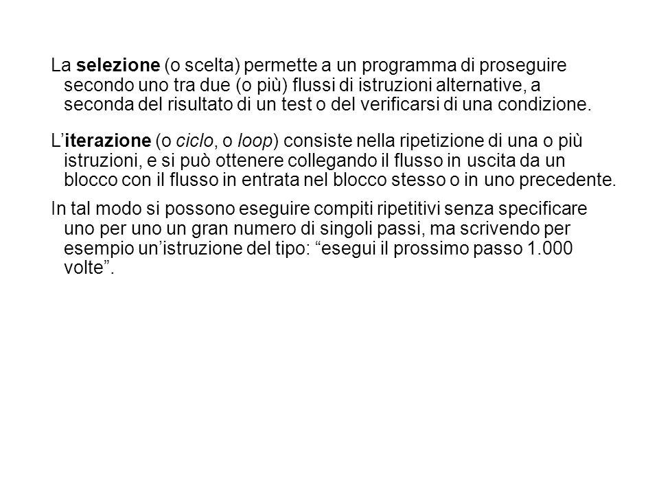 La selezione (o scelta) permette a un programma di proseguire secondo uno tra due (o più) flussi di istruzioni alternative, a seconda del risultato di
