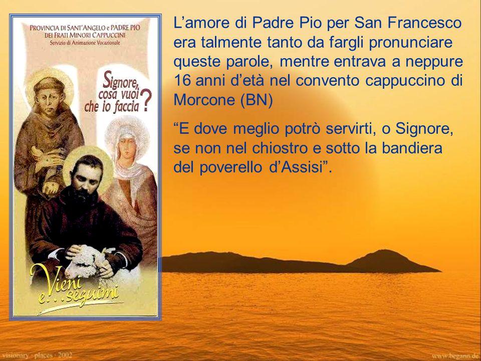 L'amore di Padre Pio per San Francesco era talmente tanto da fargli pronunciare queste parole, mentre entrava a neppure 16 anni d'età nel convento cappuccino di Morcone (BN) E dove meglio potrò servirti, o Signore, se non nel chiostro e sotto la bandiera del poverello d'Assisi .