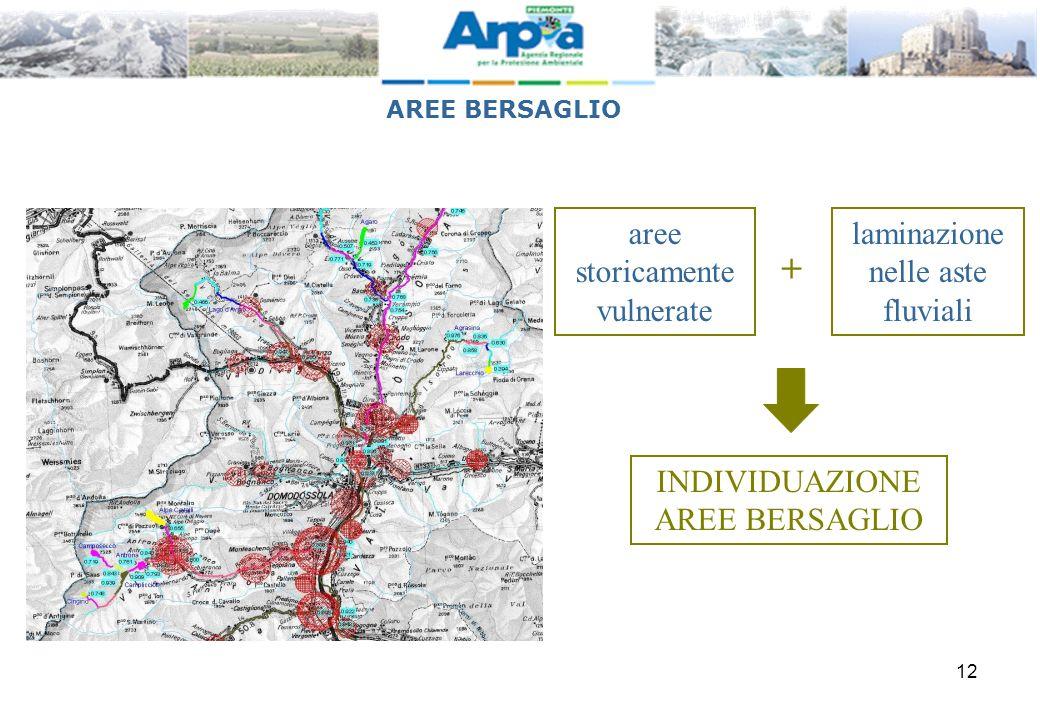 12 aree storicamente vulnerate laminazione nelle aste fluviali + INDIVIDUAZIONE AREE BERSAGLIO