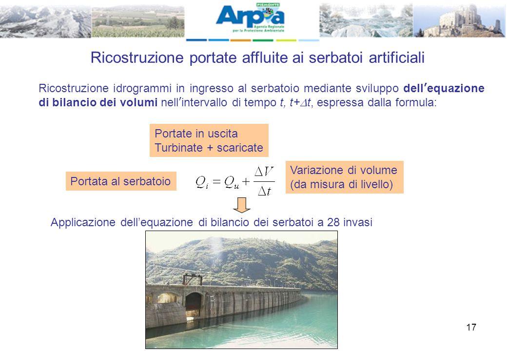 17 Ricostruzione portate affluite ai serbatoi artificiali Ricostruzione idrogrammi in ingresso al serbatoio mediante sviluppo dell'equazione di bilanc