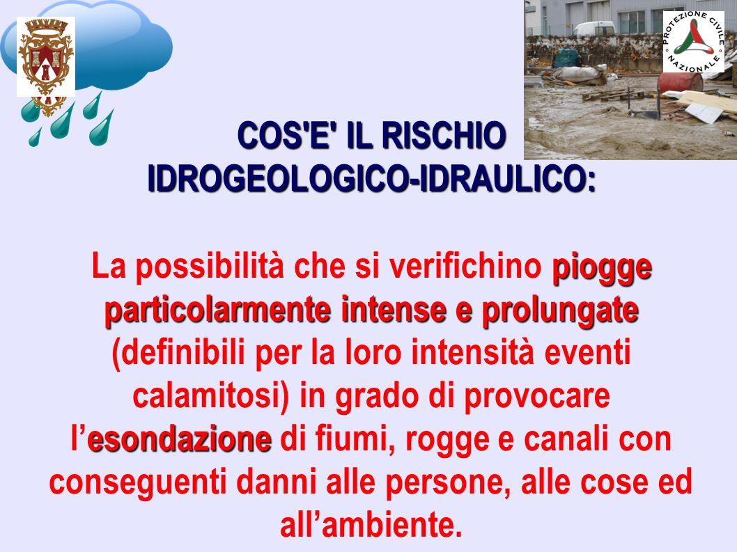 COS'E' IL RISCHIO IDROGEOLOGICO-IDRAULICO: piogge particolarmente intense e prolungate esondazione La possibilità che si verifichino piogge particolar