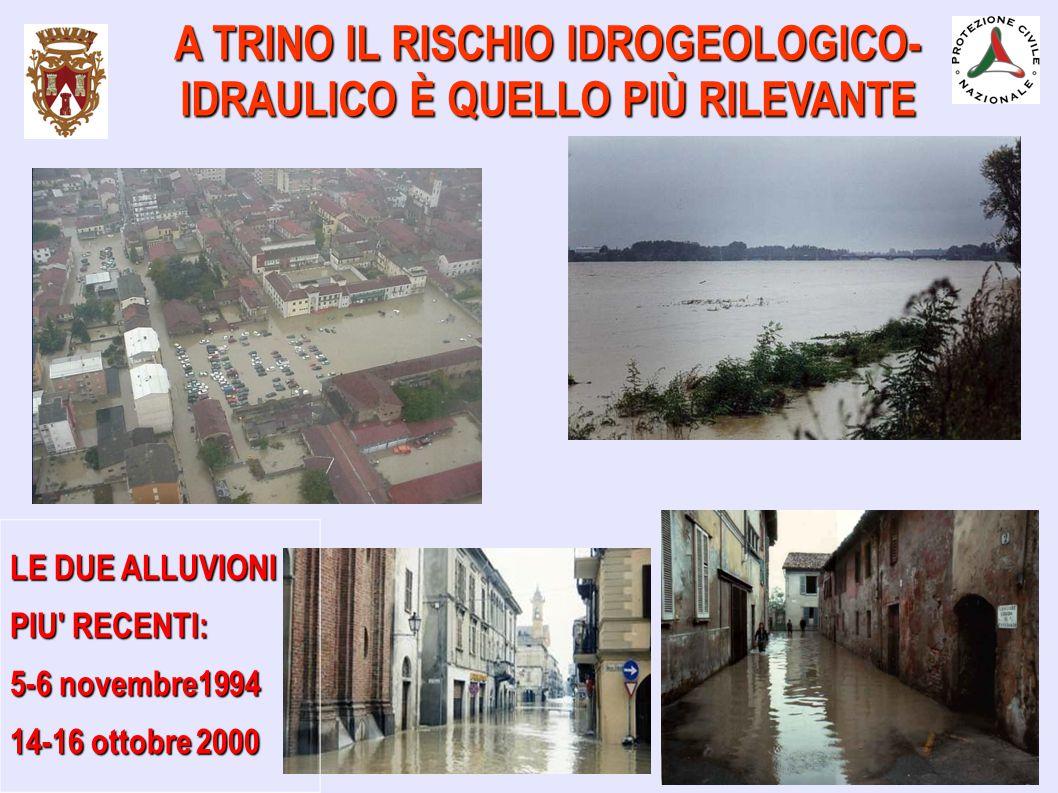 LE DUE ALLUVIONI PIU' RECENTI: 5-6 novembre1994 14-16 ottobre 2000 A TRINO IL RISCHIO IDROGEOLOGICO- IDRAULICO È QUELLO PIÙ RILEVANTE