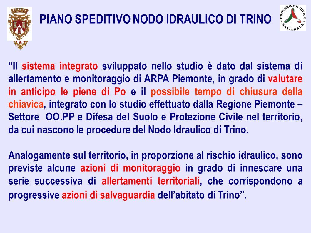 """PIANO SPEDITIVO NODO IDRAULICO DI TRINO """"Il sistema integrato sviluppato nello studio è dato dal sistema di allertamento e monitoraggio di ARPA Piemon"""