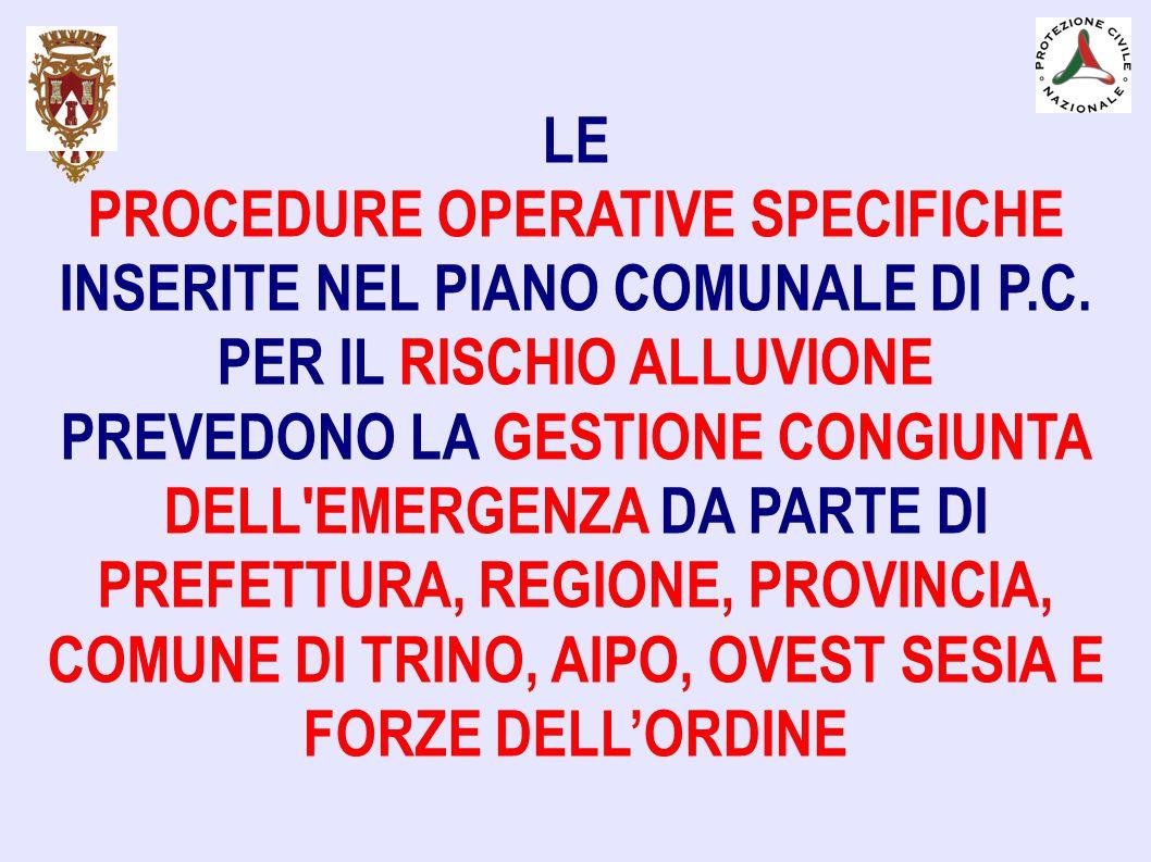 LE PROCEDURE OPERATIVE SPECIFICHE INSERITE NEL PIANO COMUNALE DI P.C. PER IL RISCHIO ALLUVIONE PREVEDONO LA GESTIONE CONGIUNTA DELL'EMERGENZA DA PARTE