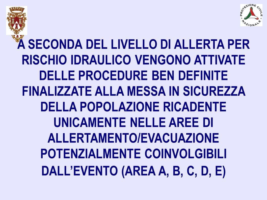 A SECONDA DEL LIVELLO DI ALLERTA PER RISCHIO IDRAULICO VENGONO ATTIVATE DELLE PROCEDURE BEN DEFINITE FINALIZZATE ALLA MESSA IN SICUREZZA DELLA POPOLAZ