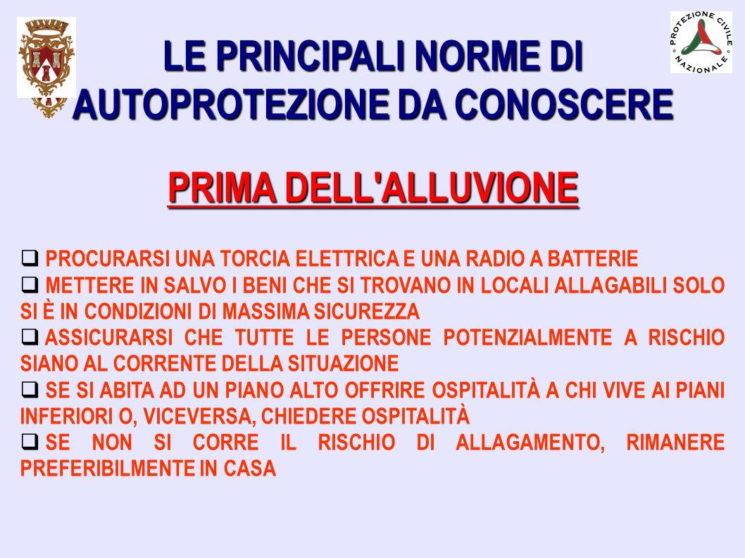 LE PRINCIPALI NORME DI AUTOPROTEZIONE DA CONOSCERE PRIMA DELL'ALLUVIONE  PROCURARSI UNA TORCIA ELETTRICA E UNA RADIO A BATTERIE  METTERE IN SALVO I