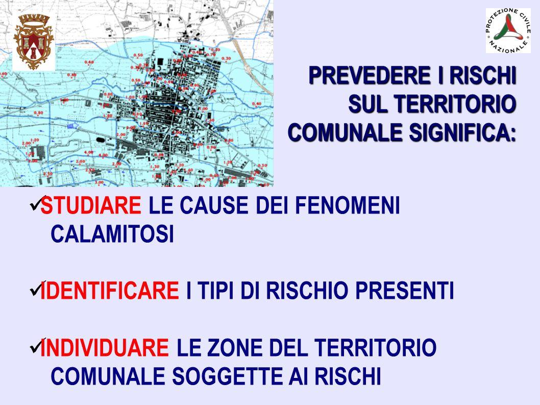 PREVEDERE I RISCHI SUL TERRITORIO COMUNALE SIGNIFICA: STUDIARE LE CAUSE DEI FENOMENI CALAMITOSI IDENTIFICARE I TIPI DI RISCHIO PRESENTI INDIVIDUARE LE