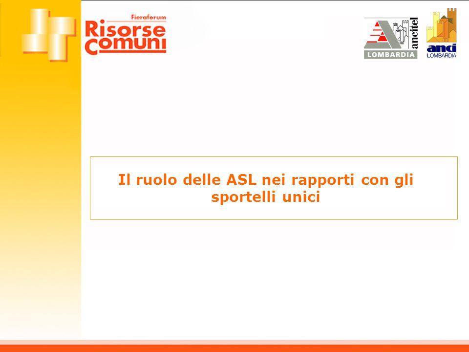Il ruolo delle ASL nei rapporti con gli sportelli unici