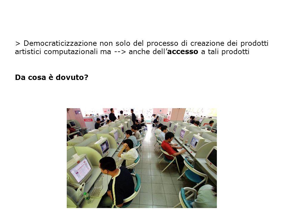 > Democraticizzazione non solo del processo di creazione dei prodotti artistici computazionali ma --> anche dell'accesso a tali prodotti Da cosa è dov