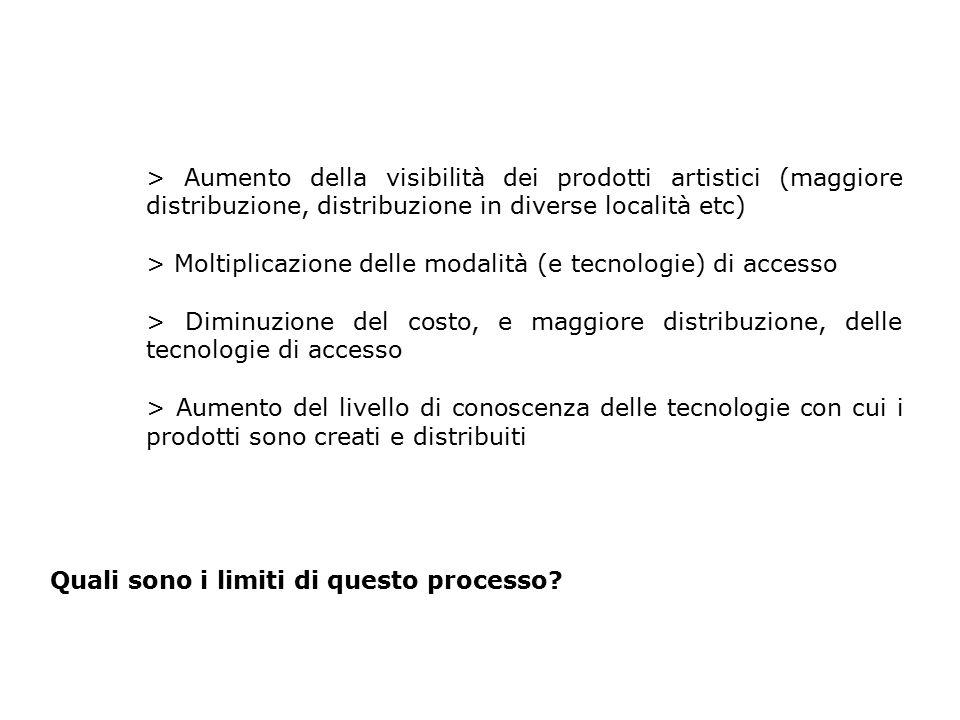 > Aumento della visibilità dei prodotti artistici (maggiore distribuzione, distribuzione in diverse località etc) > Moltiplicazione delle modalità (e
