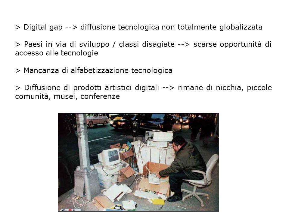 > Digital gap --> diffusione tecnologica non totalmente globalizzata > Paesi in via di sviluppo / classi disagiate --> scarse opportunità di accesso a