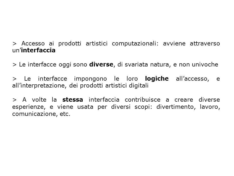 > Accesso ai prodotti artistici computazionali: avviene attraverso un'interfaccia > Le interfacce oggi sono diverse, di svariata natura, e non univoch