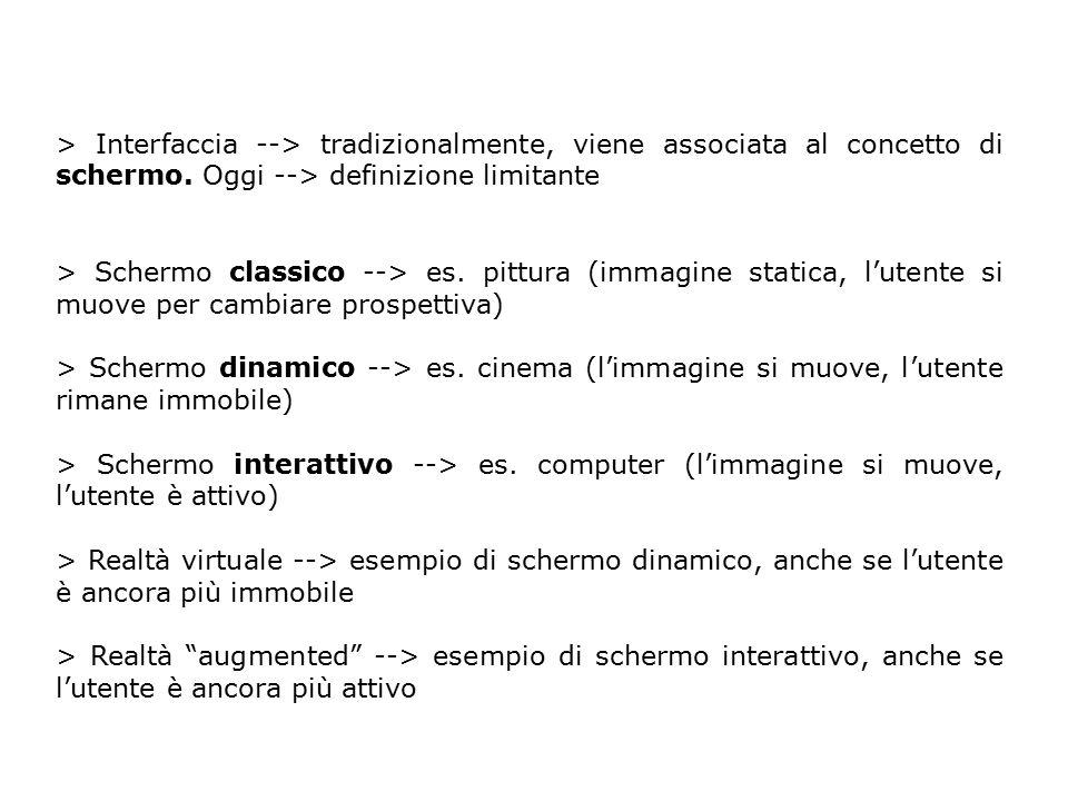 > Interfaccia --> tradizionalmente, viene associata al concetto di schermo. Oggi --> definizione limitante > Schermo classico --> es. pittura (immagin