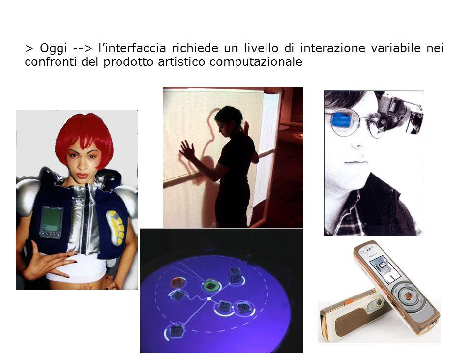 > Oggi --> l'interfaccia richiede un livello di interazione variabile nei confronti del prodotto artistico computazionale