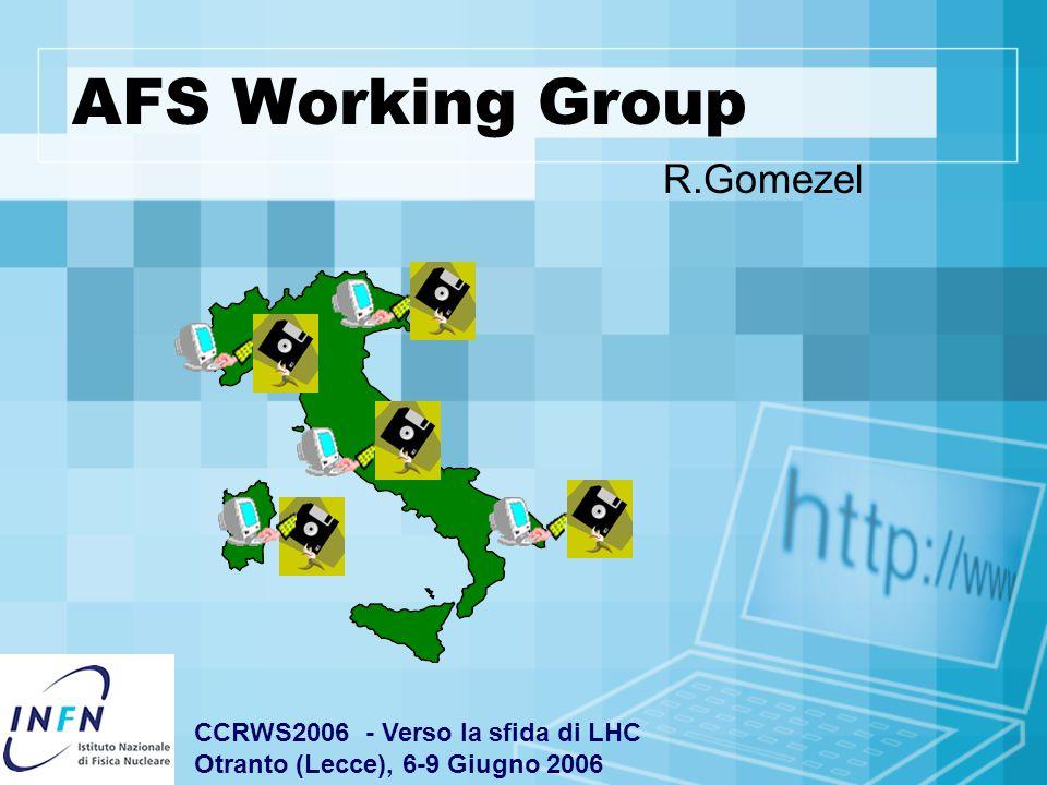 AFS Working Group R.Gomezel CCRWS2006 - Verso la sfida di LHC Otranto (Lecce), 6-9 Giugno 2006