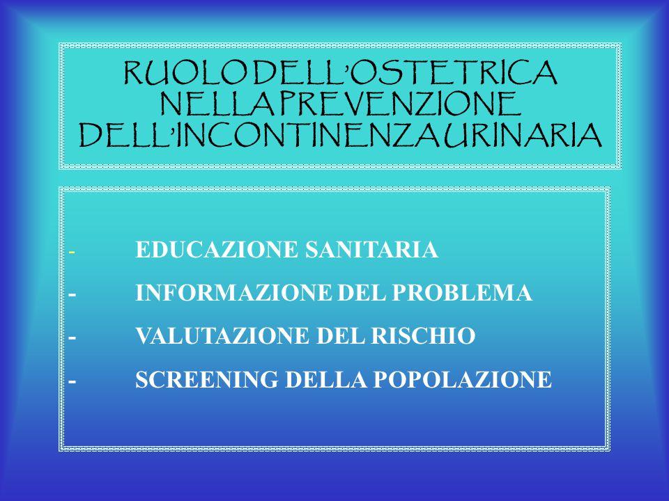 RUOLO DELL'OSTETRICA NELLA PREVENZIONE DELL'INCONTINENZA URINARIA - EDUCAZIONE SANITARIA -INFORMAZIONE DEL PROBLEMA -VALUTAZIONE DEL RISCHIO -SCREENIN