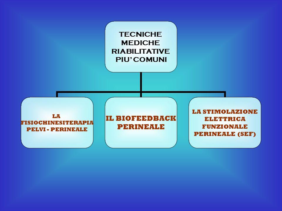 TECNICHE MEDICHE RIABILITATIVE PIU' COMUNI LA FISIOCHINESITERAPIA PELVI - PERINEALE IL BIOFEEDBACK PERINEALE LA STIMOLAZIONE ELETTRICA FUNZIONALE PERI