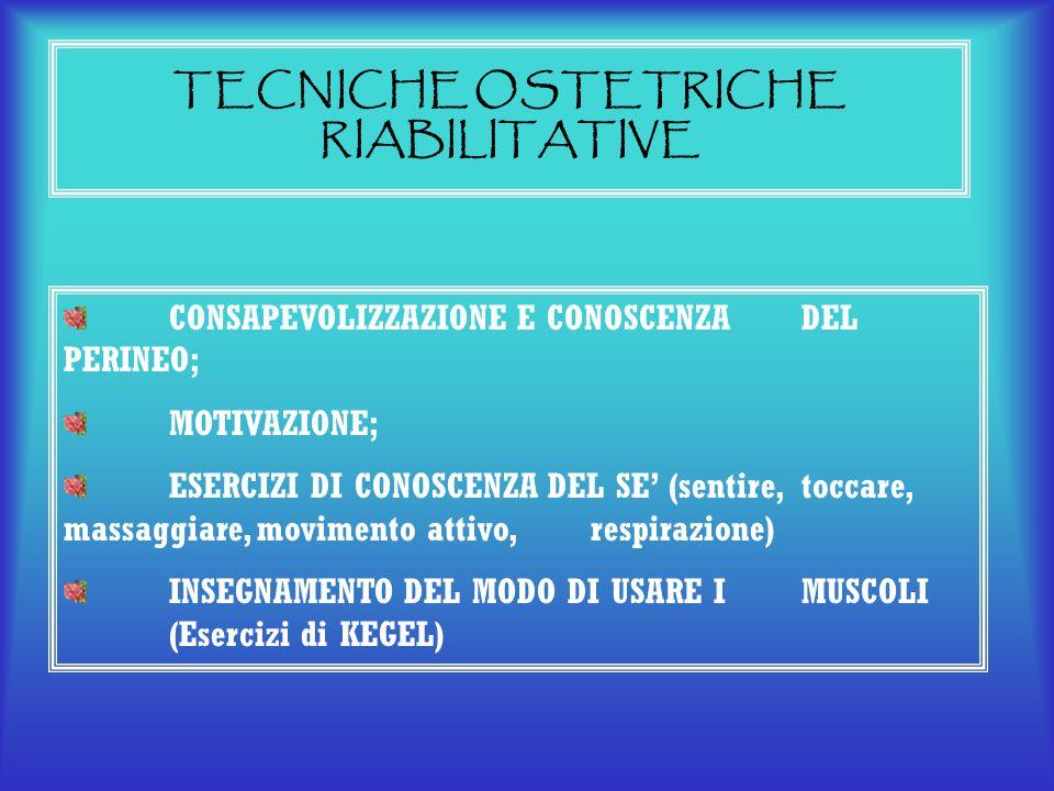 TECNICHE OSTETRICHE RIABILITATIVE CONSAPEVOLIZZAZIONE E CONOSCENZA DEL PERINEO; MOTIVAZIONE; ESERCIZI DI CONOSCENZA DEL SE' (sentire, toccare, massagg