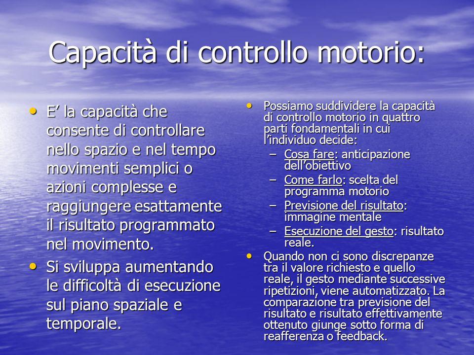 Capacità di apprendimento motorio: La capacità di apprendimento motorio si sviluppa attraverso tre fasi: 1° fase dell'apprendimento: coordinazione gre