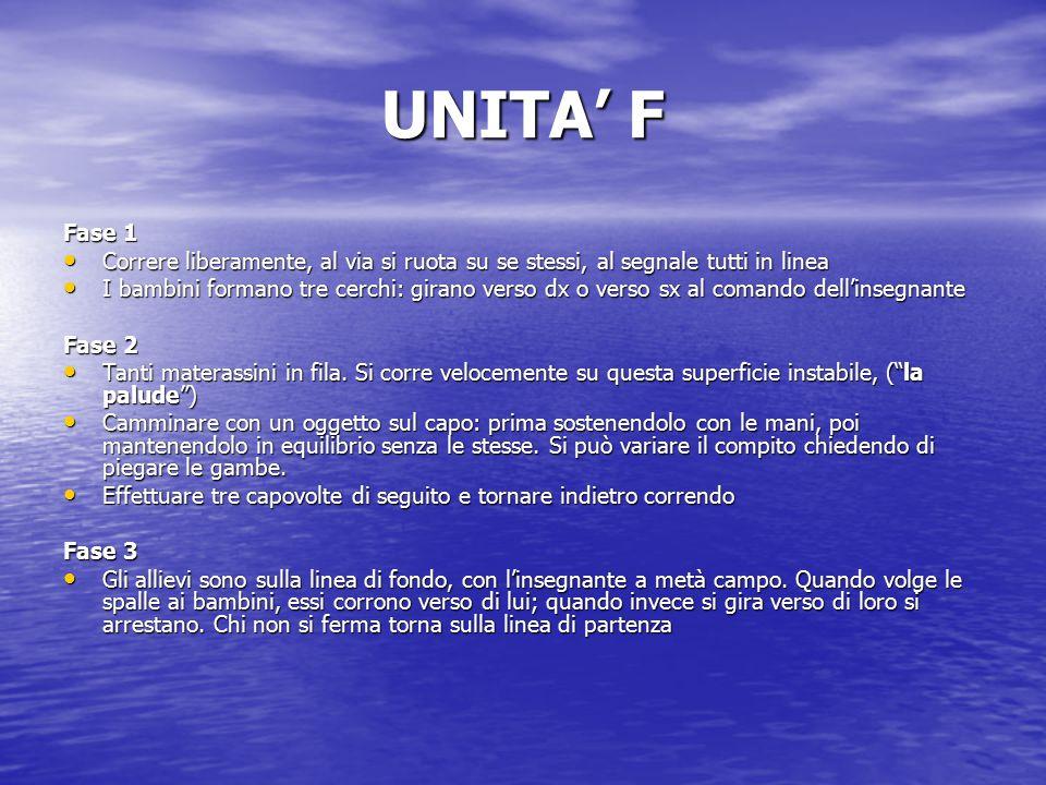 """UNITA' E Fase 1 Camminare o correre con velocità e modalità diverse Camminare o correre con velocità e modalità diverse –A coppie: """"le carriole"""" –A co"""