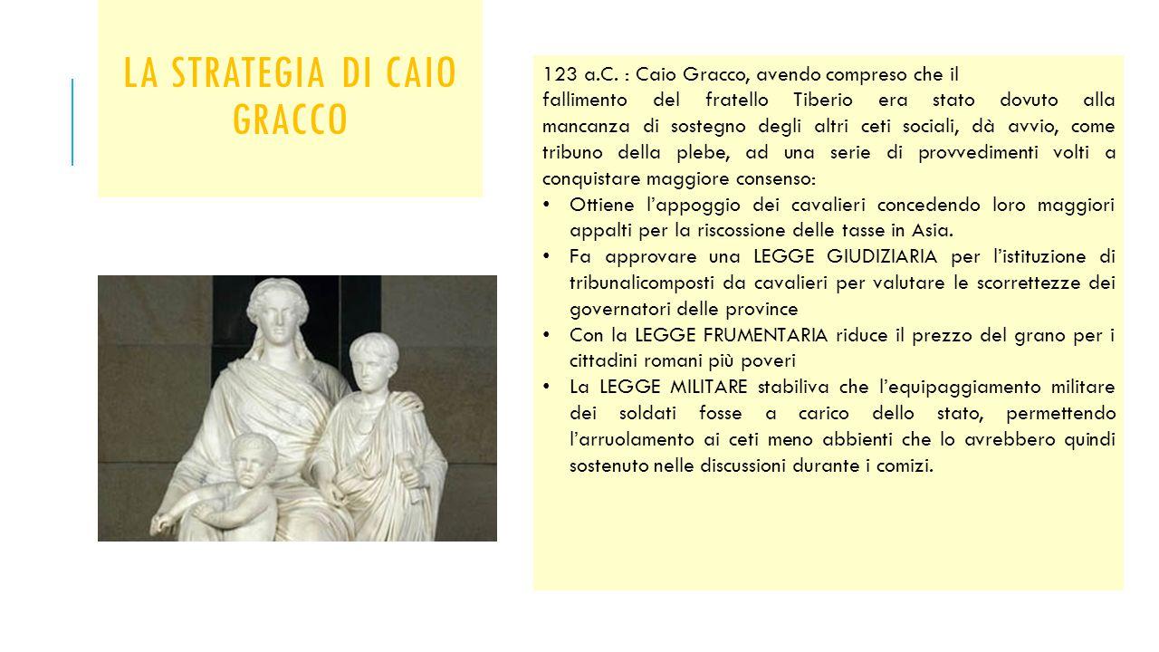 LA STRATEGIA DI CAIO GRACCO 123 a.C. : Caio Gracco, avendo compreso che il fallimento del fratello Tiberio era stato dovuto alla mancanza di sostegno