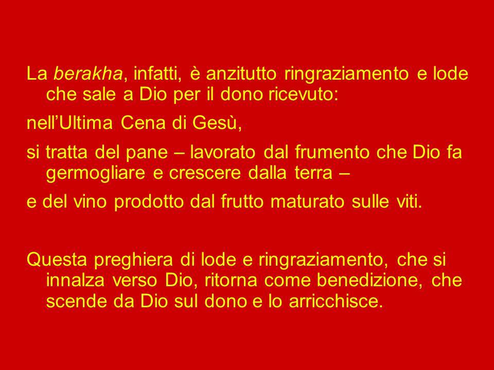 Paolo e Luca parlano di eucaristia/ringraziamento: «prese il pane, rese grazie, lo spezzò e lo diede loro» (Lc 22,19). Marco e Matteo, invece, sottoli