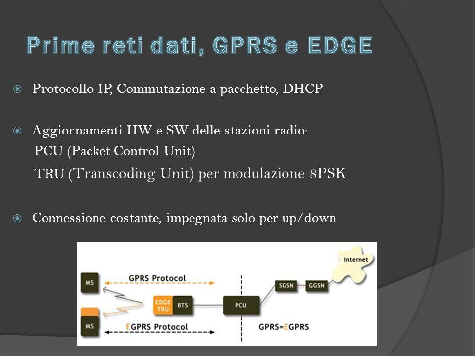  Protocollo IP, Commutazione a pacchetto, DHCP  Aggiornamenti HW e SW delle stazioni radio: PCU (Packet Control Unit) TRU ( Transcoding Unit) per modulazione 8PSK  Connessione costante, impegnata solo per up/down