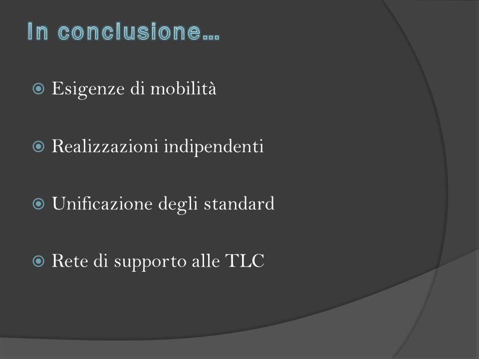  Esigenze di mobilità  Realizzazioni indipendenti  Unificazione degli standard  Rete di supporto alle TLC