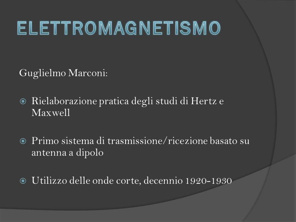 Guglielmo Marconi:  Rielaborazione pratica degli studi di Hertz e Maxwell  Primo sistema di trasmissione/ricezione basato su antenna a dipolo  Utilizzo delle onde corte, decennio 1920-1930