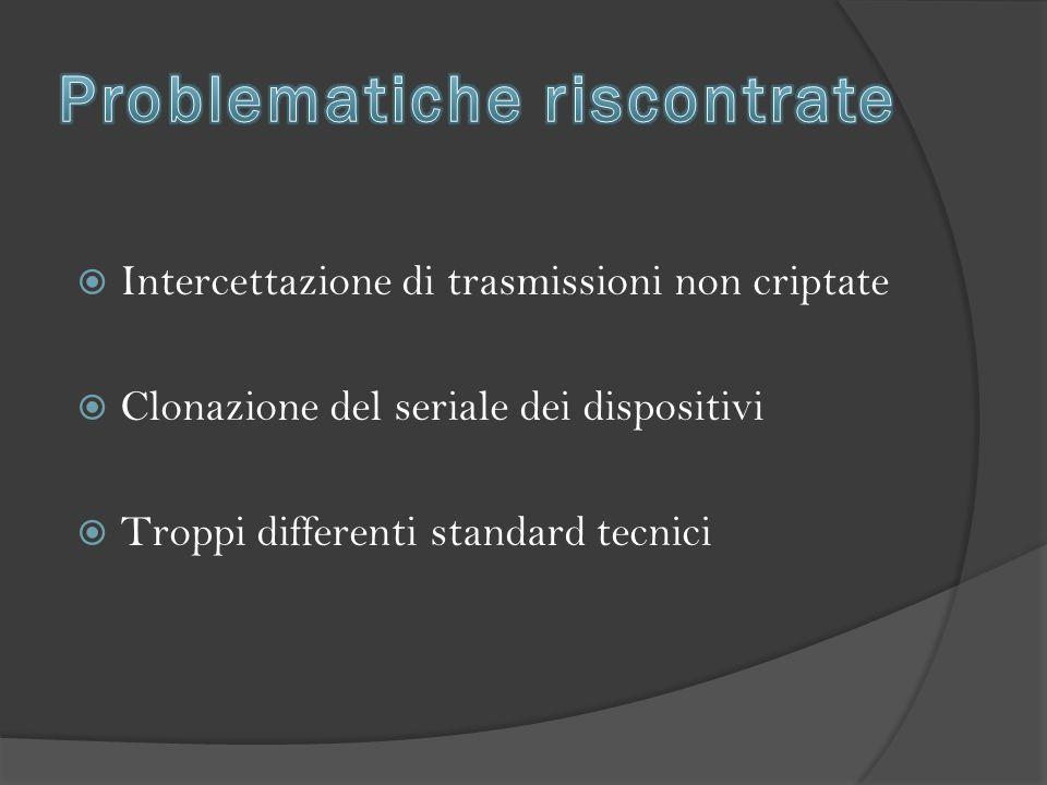  Intercettazione di trasmissioni non criptate  Clonazione del seriale dei dispositivi  Troppi differenti standard tecnici