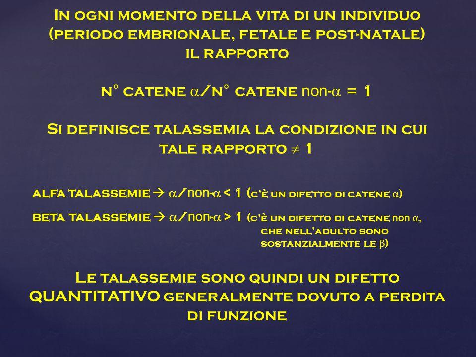 alfa talassemie   / non -  < 1 ( c'è un difetto di catene  ) beta talassemie   / non -  > 1 (c'è un difetto di catene non , che nell'adulto sono sostanzialmente le  ) In ogni momento della vita di un individuo (periodo embrionale, fetale e post-natale) il rapporto n° catene  /n° catene non -  = 1 Si definisce talassemia la condizione in cui tale rapporto  1 Le talassemie sono quindi un difetto QUANTITATIVO generalmente dovuto a perdita di funzione