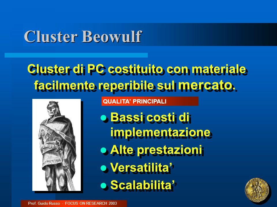 Cluster Beowulf Cluster di PC costituito con materiale facilmente reperibile sul mercato.