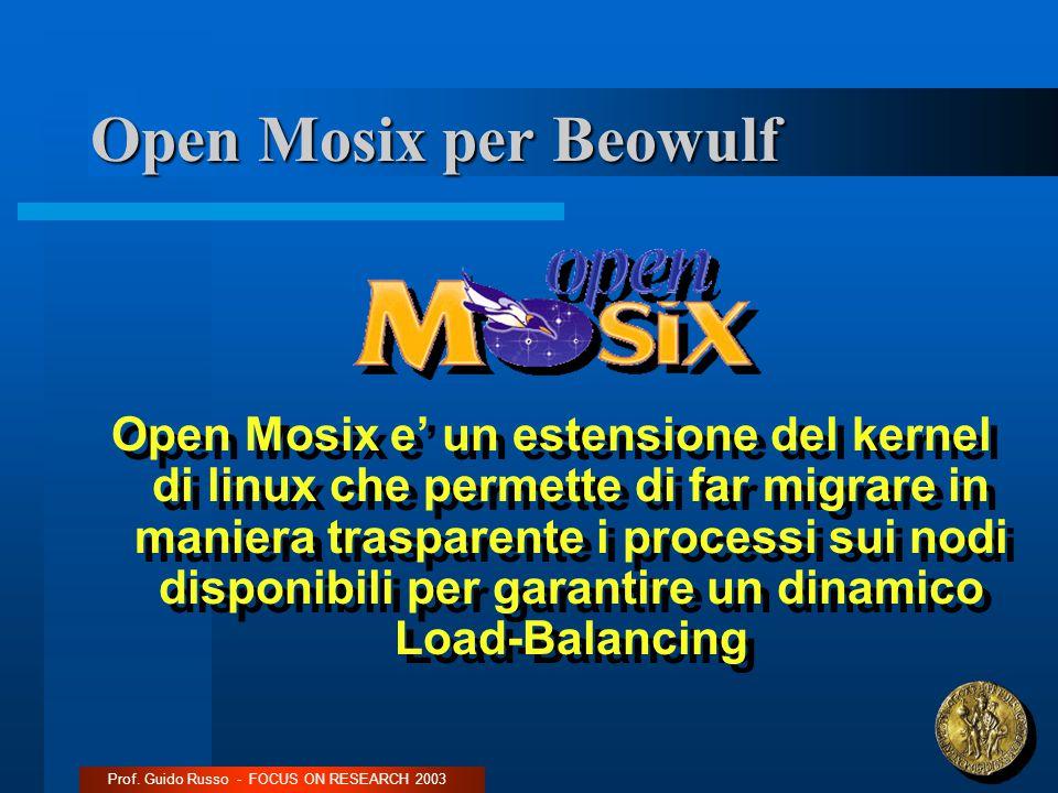 Open Mosix per Beowulf Open Mosix e' un estensione del kernel di linux che permette di far migrare in maniera trasparente i processi sui nodi disponibili per garantire un dinamico Load-Balancing Prof.