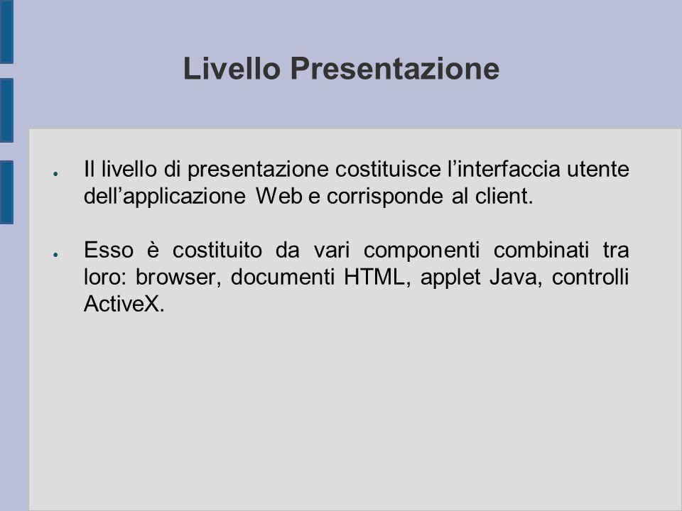 Livello Presentazione ● Il livello di presentazione costituisce l'interfaccia utente dell'applicazione Web e corrisponde al client. ● Esso è costituit