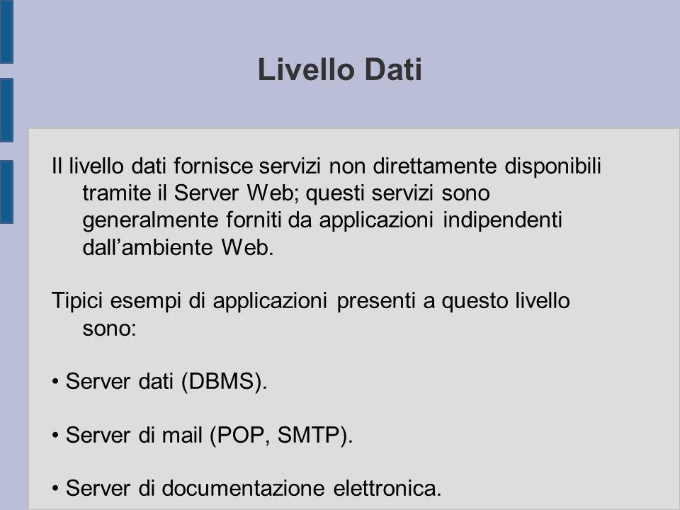 Livello Dati Il livello dati fornisce servizi non direttamente disponibili tramite il Server Web; questi servizi sono generalmente forniti da applicaz