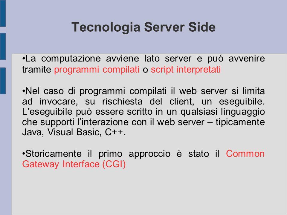 Tecnologia Server Side La computazione avviene lato server e può avvenire tramite programmi compilati o script interpretati Nel caso di programmi comp