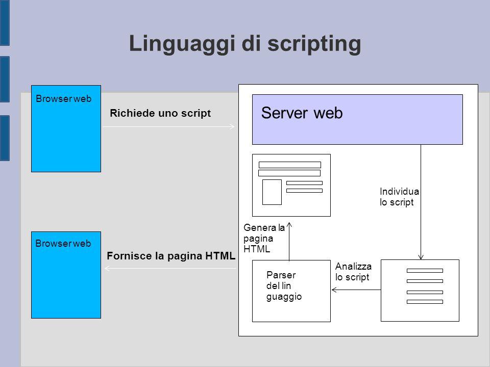 Linguaggi di scripting Server web Individua lo script Analizza lo script Parser del lin guaggio Genera la pagina HTML Browser web Richiede uno script