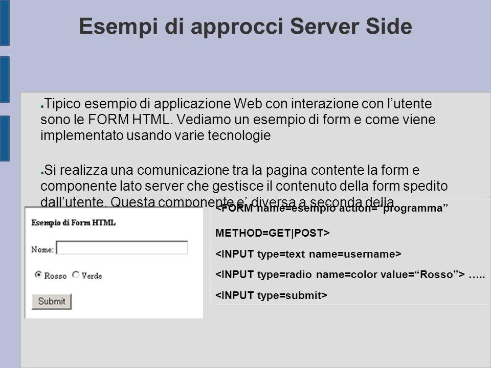 Esempi di approcci Server Side ● Tipico esempio di applicazione Web con interazione con l'utente sono le FORM HTML. Vediamo un esempio di form e come