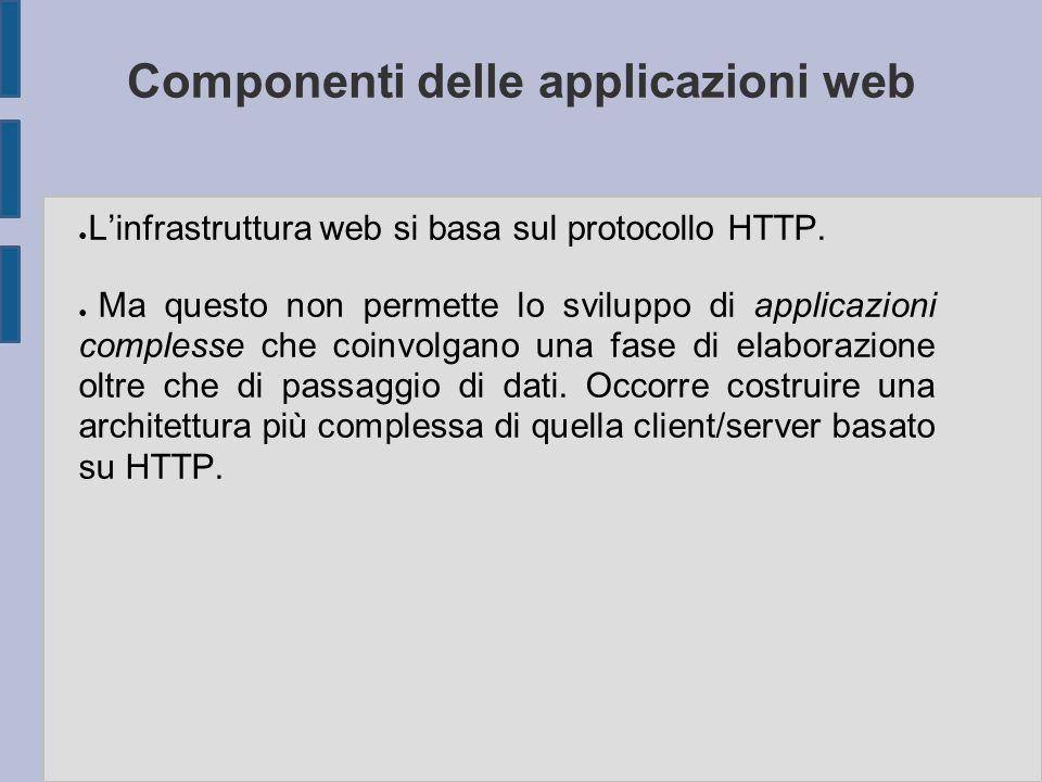 Componenti delle applicazioni web ● L'infrastruttura web si basa sul protocollo HTTP. ● Ma questo non permette lo sviluppo di applicazioni complesse c