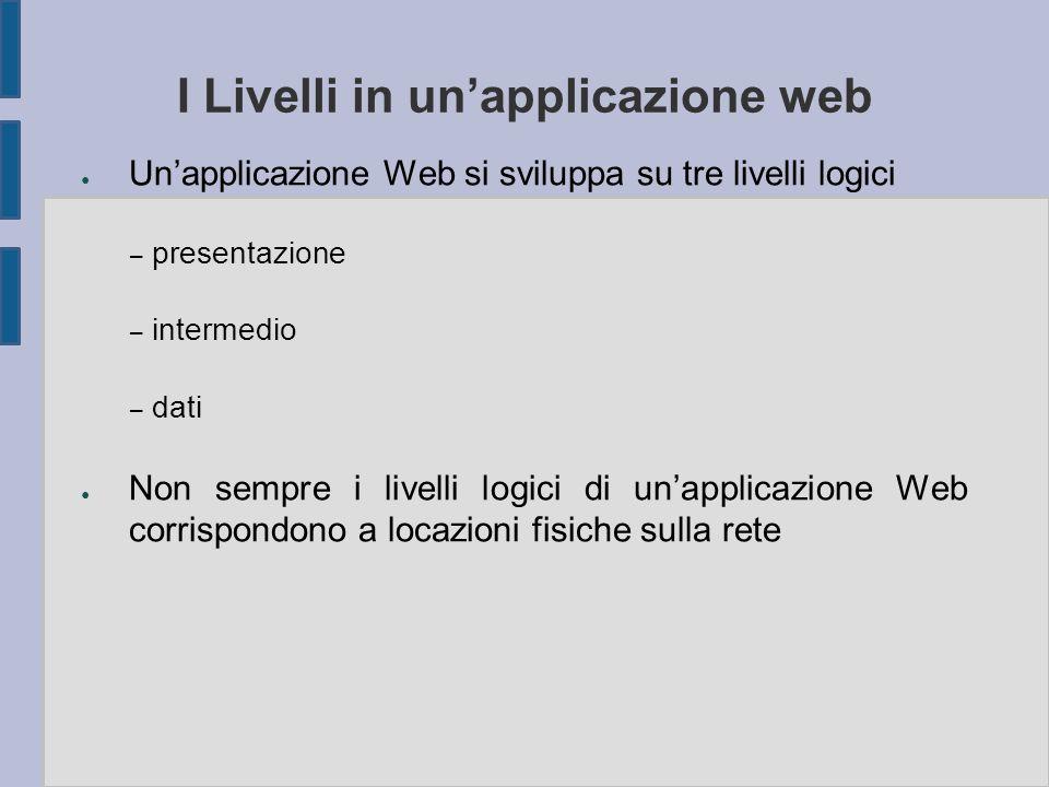 I Livelli in un'applicazione web ● Un'applicazione Web si sviluppa su tre livelli logici – presentazione – intermedio – dati ● Non sempre i livelli logici di un'applicazione Web corrispondono a locazioni fisiche sulla rete