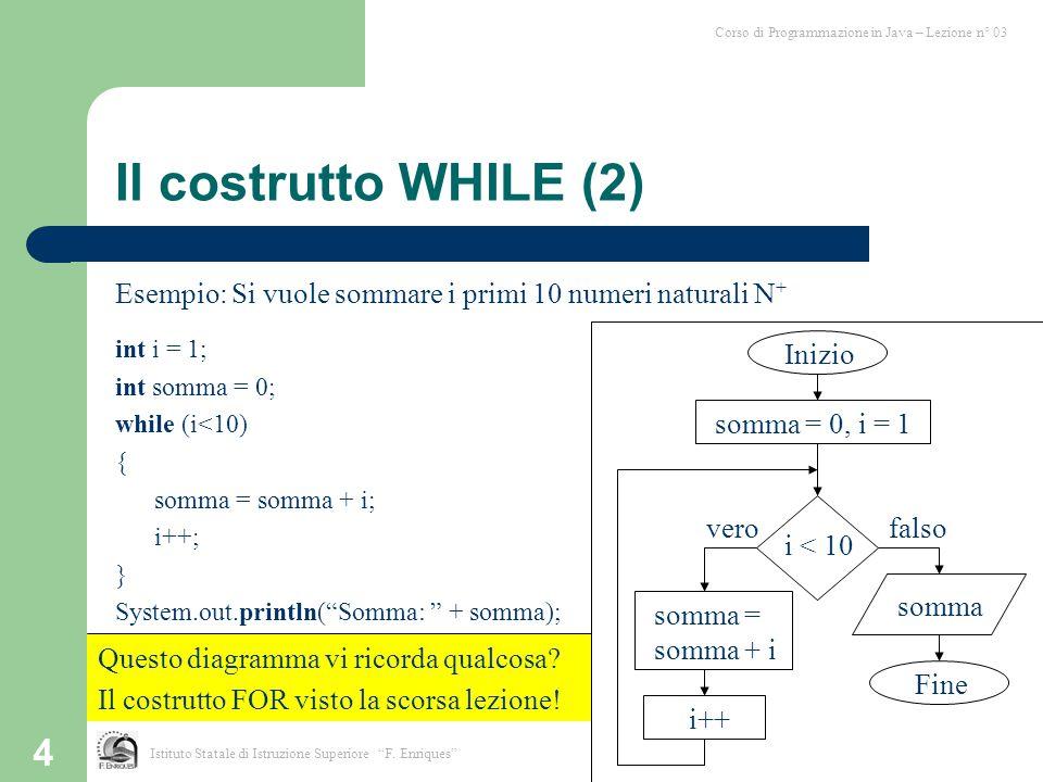 4 Il costrutto WHILE (2) Esempio: Si vuole sommare i primi 10 numeri naturali N + int i = 1; int somma = 0; while (i<10) { somma = somma + i; i++; } S