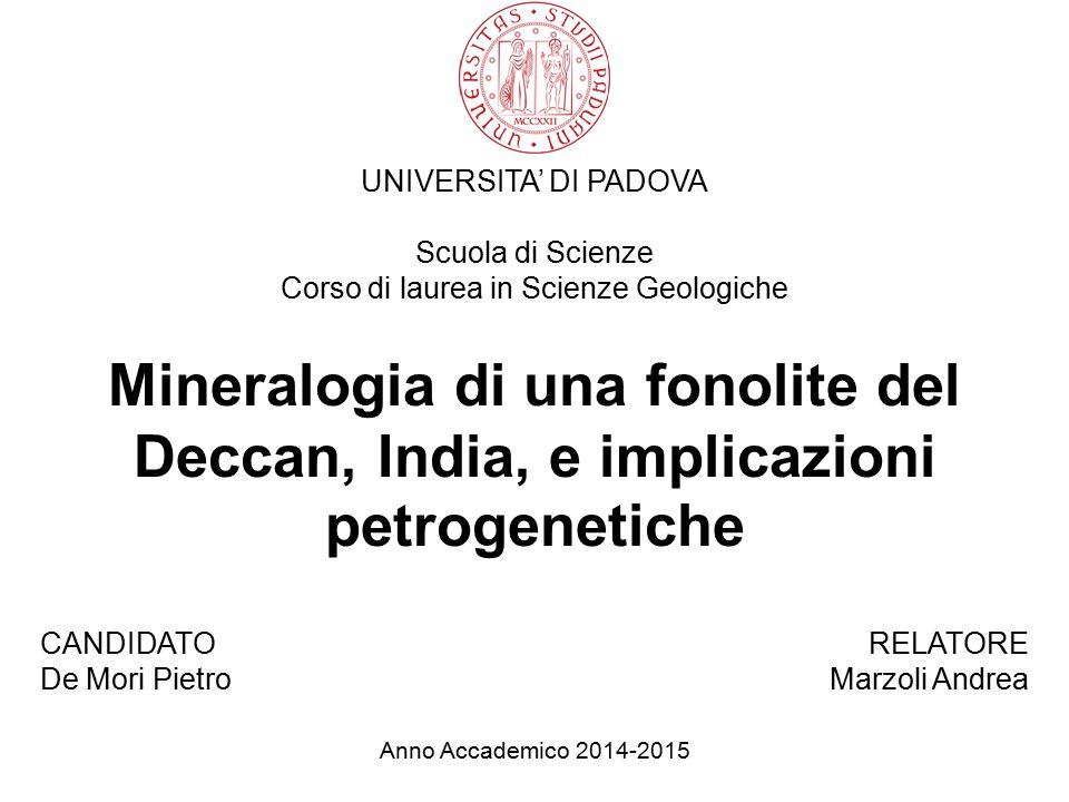UNIVERSITA' DI PADOVA Scuola di Scienze Corso di laurea in Scienze Geologiche Mineralogia di una fonolite del Deccan, India, e implicazioni petrogenet