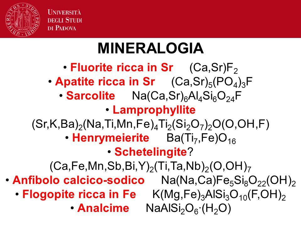 Fluorite ricca in Sr (Ca,Sr)F 2 Apatite ricca in Sr (Ca,Sr) 5 (PO 4 ) 3 F Sarcolite Na(Ca,Sr) 6 Al 4 Si 6 O 24 F Lamprophyllite (Sr,K,Ba) 2 (Na,Ti,Mn,